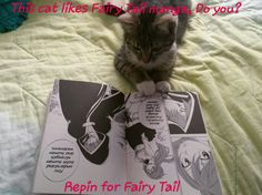 My cat reading manga
