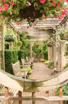 ~Beautiful backyard arbor, benches and garden