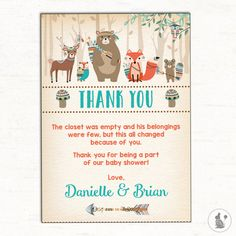 Ideas baby shower printables thank you Baby Shower Prizes, Baby Shower Favors, Baby Boy Shower, Baby Shower Gifts, Printable Thank You Notes, Forest Baby Showers, Personalized Thank You Cards, Baby Shower Decorations For Boys, Elephant Baby Showers