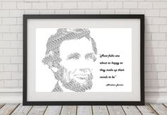 Abraham Lincoln wall print Famous Quote Art Prints decor black