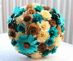 Teal Wedding: Bridal Bouquet Made of Teal, Brown, Copper and Natural Birch Wooden Flowers | Reduce. Reuse. Recycle. Replenish. Restore.