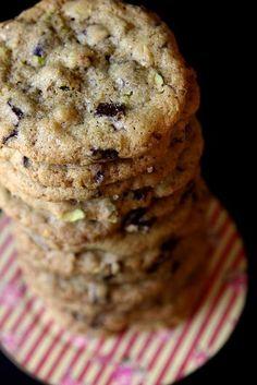 Dark Chocolate, Pistachio & Smoked Sea Salt Cookies | via Joy the Baker