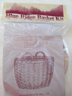 Vintage Basket Making Kit in unopened package 1983 - Blue Ridge Basket Kit  Gran's Cotton Basket.