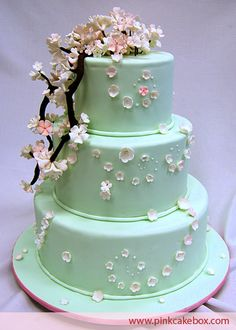 Mint and cherry blossom wedding cake! We can recreate this for you! http://www.creativeambianceevents.com/