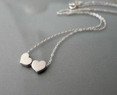 Heart Necklace Two tiny dainty silver hearts charm by balance9, $25.00