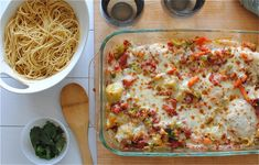 Baked Italian Chicken and Veggies with Pasta / Bev Cooks