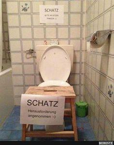 Schatz, bitte im Sitzen pinkeln.. | Lustige Bilder, Sprüche, Witze, echt lustig