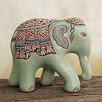 Unique Celadon Ceramic Figurines (Set of 3) - Elephant Lessons | NOVICA