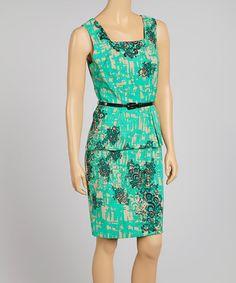 Green & Black Peplum Dress #zulily #zulilyfinds