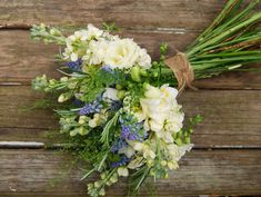 Summer bouquet, white and blue flowers! Created by the urban flower farm.