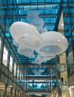 Art installation by Kendall Buster. Textile stretched over steel frame; Ceiling Installation, Artistic Installation, Ceiling Art, Ceiling Design, Ceiling Hanging, Hospital Design, Exhibition Display, Atrium, Public Art
