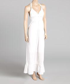Loving this White Empire-Waist Halter Maxi Dress on #zulily! #zulilyfinds