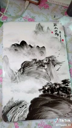 Tableau peind au doigt - Everything About Charcoal Drawing and Sculpture Japanese Ink Painting, Japanese Watercolor, Chinese Landscape Painting, Japan Painting, Japanese Art, Landscape Paintings, Watercolor Paintings, Chinese Painting Flowers, Watercolor Scenery