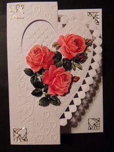 Ett fint gratulations kort med rosor i 3D gjort av Cornelia