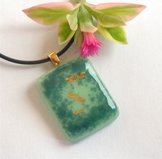 Gold Dragonfly Fused Glass Pendant by GreenhouseGlassworks on Etsy, $20.00