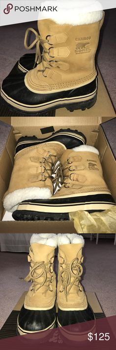 Sorel Caribou Boots in Buff 100% AUTHENTIC. Sorel Caribou Boots in Buff. Waterproof. Only worn a couple of times, in perfect condition! Comes with box 📦! Size 6. Sorel Shoes Winter & Rain Boots