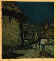 Beautiful Graphics by T.F.Simon, Czech Artist Nocturne in Stramberk, 1921