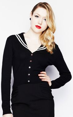 Hell Bunny 50's Land Lubber Black Cardigan