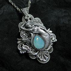 Pacific Siren Necklace - Pacific Opal Swarovski and Silver Mermaid Pendant by RavynEdge. Mermaid Pendant, Mermaid Jewelry, Mermaid Necklace, Mermaid Art, Mermaid Paintings, Tattoo Mermaid, Vintage Mermaid, Mermaid Tails, Magical Jewelry