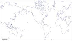 Mundo centrado Américas : Mapa gratuito, mapa mudo gratuito, mapa en blanco gratuito, plantilla de mapa : costas (blanco)
