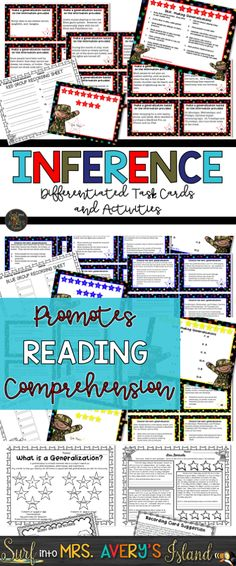 Inferencing Activities - These differentiated inference task cards are perfect when teaching your students how to inference. Making generalizations does not have to be a difficult reading comprehension skill to teach anymore! Click to see what other elementary teachers have to say and discover the ease of integrating this fun, reading resource into your lesson plans.