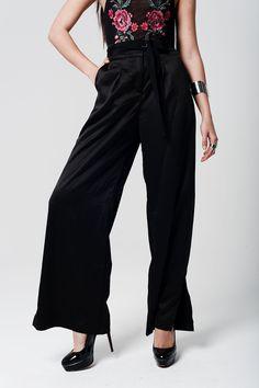 Q2 Black Satin High Waist Trousers With Wide Leg