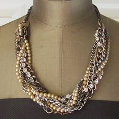 Mixed Metal & Bridal Pearl Twisted Chains Adjustable Necklace - Heavy Metal Music To My Eyes Necklace. $125.00, via Etsy.