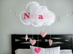Diy cloud mobile..change hearts to rockets taking off.