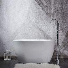 47 inch Free Standing Tub, Mini Freestanding Acrylic Bathtub with Overflow, Side Drain and Hose for Soaking SPA, High Glossy White, cUPC Certificated Small Freestanding Tub, Small Bathtub, Clawfoot Bathtub, Bath Tub, Soaker Tub Free Standing, Stand Alone Bathtubs, Bathtubs For Small Bathrooms, Drop In Tub, Grey Wall Decor