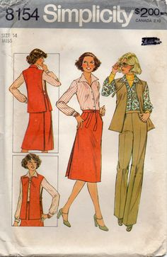 Simplicity 8154 1970s Misses Blouse Tabard Pants and Back Wrap Skirt vintage sewing pattern