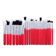 Set 25 Professional Makeup Brushes Kit Face Eye Foundation Kabuki Brush Red Set/kit Synthetic Fibre As Pictures Shown Travel Size China