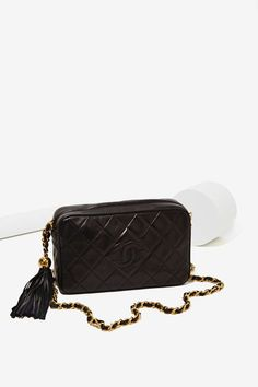Vintage Chanel Black Quilted Tassel Bag - Vintage Accessories