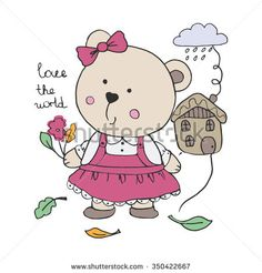 portrait of sweet little baby bear in dress , hand drawn fashion illustration, can be used for kids' or babies' shirt designs
