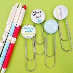Wake up & be awesome! Jazz up your planners today with these giant paper clips! #wakeupandbeawesome #shinelikeastar #planneraccessories #paperclips #handmade #happyplanner #mambiplanner #midori #midoritravelersnotebook #stationery #helloplannerstuff