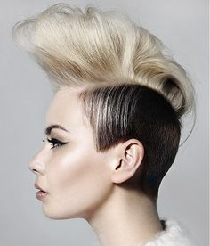 A long blonde straight coloured multi-tonal quiff avant garde hairstyle by Hooker & Young
