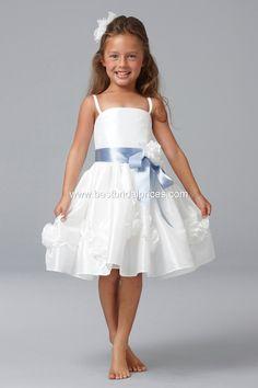 Flowergirls - summer white flowergirl dress with blue sash