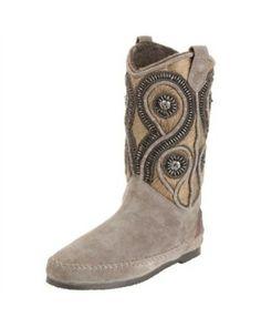 embellished boots - coral blue