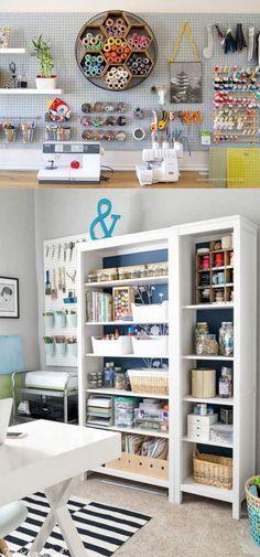 Love the storage ideas Craft Room Storage, Sewing Room Organization, Storage Ideas, Creative Storage, Craft Room Shelves, Pegboard Craft Room, Ikea Pegboard, Painted Pegboard, Craft Cabinet