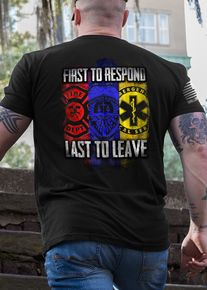 FIRST to respond and LAST to leave. These words ring true to the CORE of every firefighter, police officer and EMT. These selfless individuals are proud members of the Thin Red Line (fire), Thin Blue Line (police) and Thin Yellow Line (EMS). These First Responders work seperately and together in disaster situations, around the clock 24/7, to SAVE LIVES and PROTECT AMERICA.