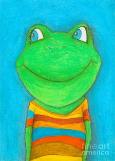 Shop for frog art from the world's greatest living artists. All frog artwork ships within 48 hours and includes a money-back guarantee. Choose your favorite frog designs and purchase them as wall art, home decor, phone cases, tote bags, and more! Kids Artwork, Kids Room Art, Art For Kids, Art Children, Kid Art, Famous Impressionist Paintings, Frosch Illustration, Painted Rocks, Hand Painted