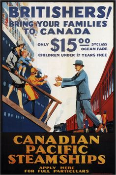 Mixed Media - Canadian Pacific Steamships - Britishers - Retro Travel Poster - Vintage Poster by Studio Grafiikka , Retro Poster, Poster Ads, Poster Prints, Advertising Poster, Art Prints, Vintage Advertisements, Vintage Ads, Vintage Trains, Vintage Stuff