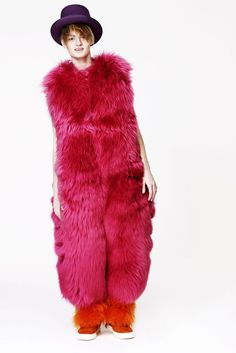 But I would trade in a full bag of gummi fried eggs for this amazing bright pink furry bodysuit. Who wouldn't? | 28 Reasons To Appreciate Zany British Fashion Designer Louise Gray
