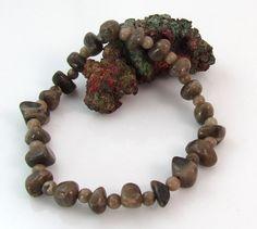 Michigan Petoskey stone stretchy beadwork bracelet by rwilberg