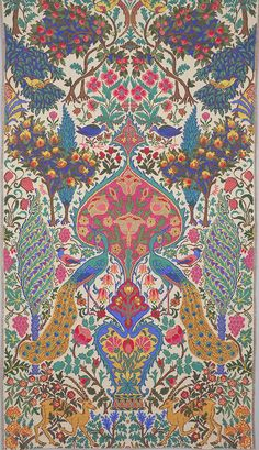 Alexander Morton, textile design, Inspired by Sardinian peasant embroideries. Alexander Morton, textile design, Inspired by Sardinian peasant embroideries. Motifs Textiles, Textile Patterns, Textile Prints, Print Patterns, Textile Pattern Design, Geometric Pattern Design, Motif Design, William Morris, Arte Fashion