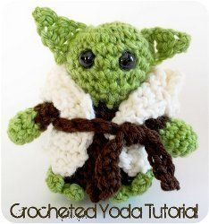 Crocheted Yoda/ Star Wars fan - look no further Yoda is here/ use #4 med. worst. yarn/ intermediate / FREE CROCHET pattern
