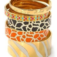 animal print bangles.. zebra print and giraffe print.. really hot with a casual or glam outfit