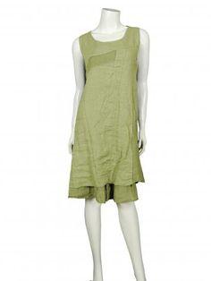 Damen Leinenkleid, grün
