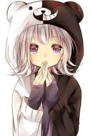 Resultado de imagen para chica de anime con una polera de un oso mitad negro y blanco