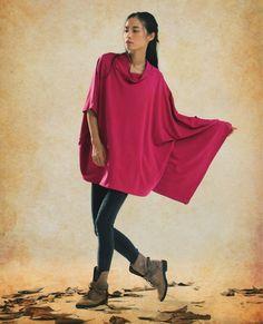Winter Loose Blouse / Red Oversized Top / Viscose di camelliatune