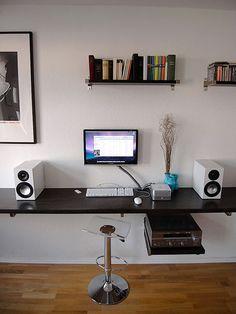 Wall mounted Mac Mini workstation.
